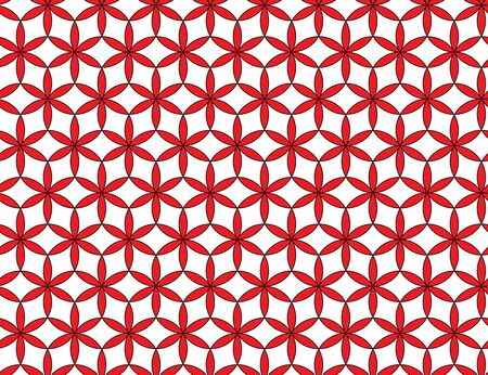 Seamless Seed of life symbol background, Sacred Geometry. Geometric mystic mandala of alchemy esoteric Flower of Life in line art. Vector red and white textile design, abstract texture graphic print Ilustração