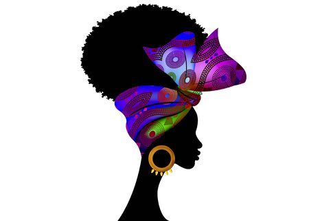 Portrait African woman wears fashion bandana for curly hairstyles. Shenbolen Ankara Headwrap Women. Afro Traditional Headtie Scarf Turban in tribal fabric design texture. Vector isolated on white