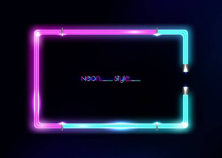 Neon frame background, double color. Colorful neon shiny glowing vintage frame isolated or black background. Multicolored neon tube realistic rectangle border, vector template illustration