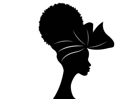 portrait beautiful African woman in traditional turban and Afro frizzy curly hair, black women vector silhouette isolated, logo design hairstyle concept Ilustração