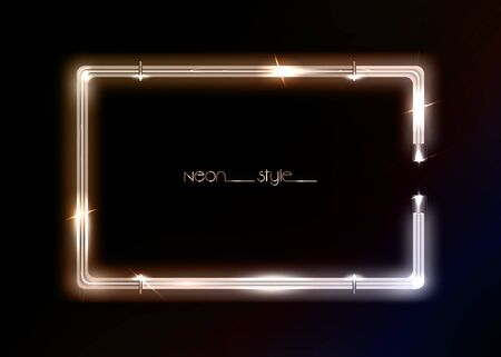 Neon frame background, gold luxury color. Colorful neon shiny glowing vintage frame isolated or black background. Golden fashion neon tube realistic rectangle border, vector template illustration