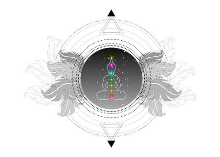 Chakras concept. Inner love, light and peace. Buddha silhouette in lotus position over ornate mandala lotus flower. Sacred Geometry. Vector isolated. Buddhism esoteric motifs. Tattoo, spiritual yoga Ilustração