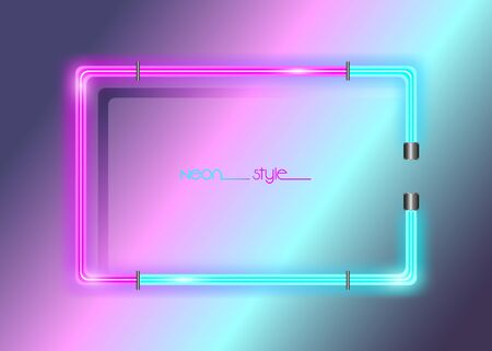 Neon frame background, double color. Colorful neon shiny glowing vintage frame isolated or fashion bright background. Multicolored neon tube realistic rectangle border, vector template illustration