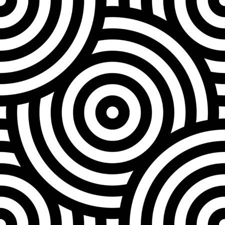 seamless pattern, black and white intersecting repeating circles texture. Japanese style circles. Modern spiral abstract geometric wavy background, overlap circle. African Print fabric tribal motifs