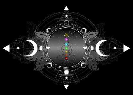 Chakras concept. Inner love, light and peace. Buddha silhouette in lotus position over ornate mandala lotus flower and Moon phases Sacred Geometry, spiritual yoga. Vector isolated on black background
