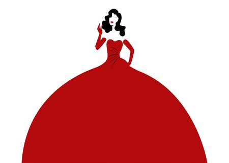 Woman in elegant red dress. Retro fashion woman in red party evening dress, vector isolated on white background