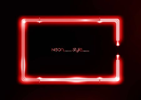 Neon frame background, red color sign. Colorful neon shiny glowing vintage frame isolated or black background. Fashion neon tube realistic rectangle border, vector template illustration Ilustração