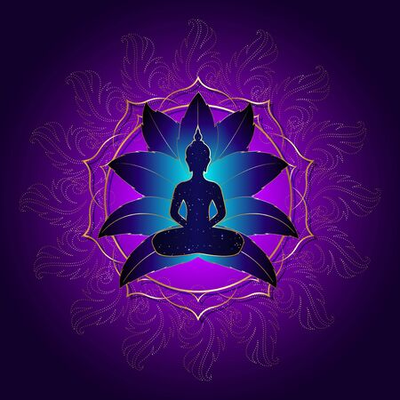 Buddha silhouette in lotus position over gold ornate mandala lotus flower. Vector illustration isolated on purple background. Buddhism esoteric motifs, Chakra concept, spiritual yoga Ilustração