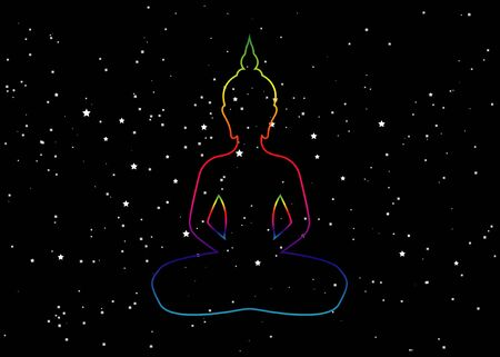 Silhouette of sitting Buddha with space and stars isolated on black background. Vector illustration. Vintage composition. Indian, Buddhism, Spiritual motifs. Tattoo, yoga, spirituality.
