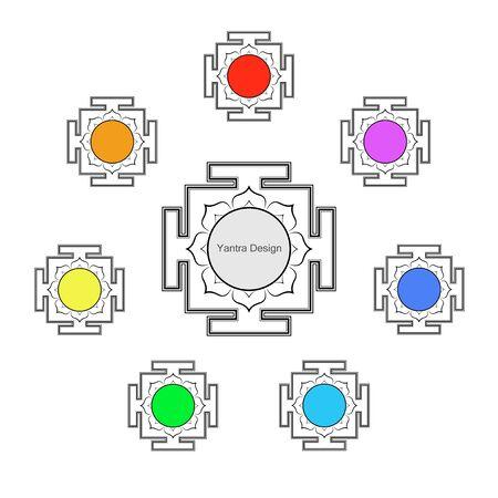 Yantras set icon, copy space. Sacred Indian Geometry Mystical Meditative Diagram. Set of sri yantras for six chakras: Muladhara, Swadhistan, Manipura, Anahata, Vishudha, Ajna, Sahasrara for meditation