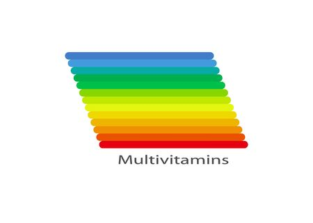 Multivitamin label inspiration, colorful banner icon vitamins and text, vector isolated or white background