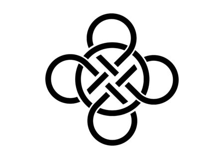 Celtic knot, interlocked circles logo, vector tattoo isolated on white background