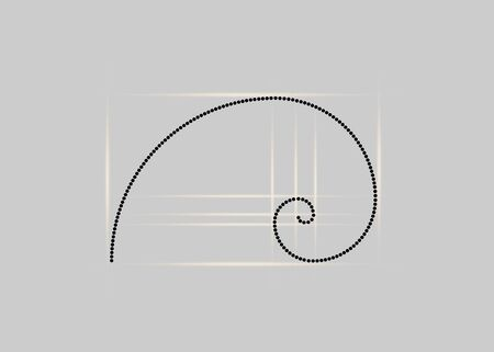 Golden ratio. Fibonacci number, golden section, divine proportion and black spiral in polka dots style, vector isolated on gray background