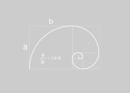 Golden ratio. Fibonacci number with the mathematical formula, golden section, divine proportion and white spiral in polka dots style, vector isolated on gray background