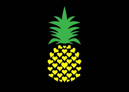 Pineapple with leaf  icon, heart shape design. Colorful Tropical fruit isolated on black background. Symbol of food, sweet, exotic and summer, vitamin, healthy. Nature sign. Flat concept Ilustração