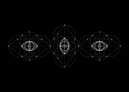 Vesica piscis Sacred geometry. All Seeing eye, the third eye or The Eye of Providence inside triangle pyramid. Triptych Totem The eye of Phi mystic heaven and earth vector isolated on black background