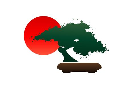Japanese bonsai tree logo, black plant silhouette icons on white background, green ecology silhouette of bonsai and red sunset. Detailed image. Bio nature concept. Japanese flag icon. Vector isolated Stock Illustratie