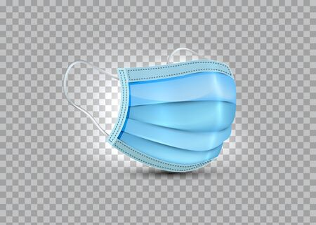 3d realistic vector safety breathing mask, hospital breathing medical respiratory face mask. Covid-19 protection. Surgical Mask isolated on transparent background