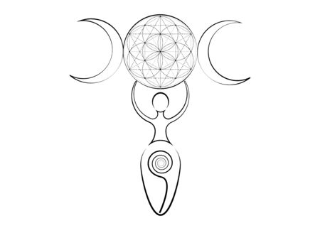 spiral goddess of fertility and triple moon wiccan. The spiral cycle of life, Flower of Life. Woman wicca mother earth symbol of procreation, vector tattoo sign icon isolated on white Vektorgrafik