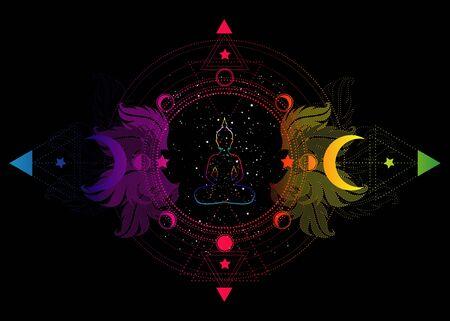 Buddha silhouette in lotus position over ornate mandala lotus flower and Moon phases Sacred Geometry, spiritual yoga. Chakras concept. Inner lov, magic colorful light. Vector isolated on black
