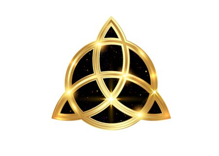 Triquetra geometric logo, Gold Trinity Knot, Wiccan symbol for protection. Vector golden Celtic trinity knot set isolated on white background. Wiccan divination symbol, ancient occult sign Logos