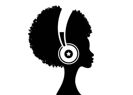 The Afro girl listens to music on headphones. Music therapy. Profile of a young African American woman. Musician avatar side view. Vector flat illustration isolated on white background  イラスト・ベクター素材