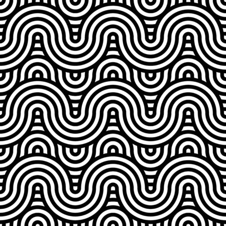 Black and white intersecting repeating circles pattern. Japanese minimal style seamless background. Modern spiral abstract geometric wavy pattern, overlap wave. African Print fabric tribal motif
