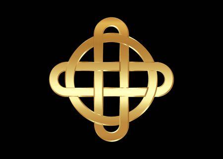 Gold celtic knot, interlocked circles logo, golden luxury vector emblem sign isolated on black background Illustration
