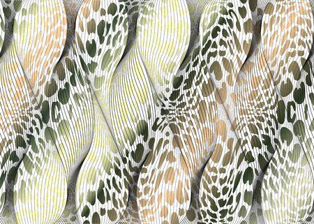 African Print fabric, fashion ethnic pattern of braided fiber, vintage tribal motif elements. Colorful animal texture safari concept, afro textile Ankara fashion style. Dashiki pareo wrap dress, batik