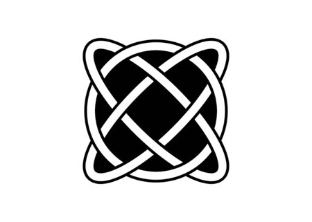 Celtic knot, interlocked circles, hand drawn vector tattoo isolated, cross Celtic concept, on white background