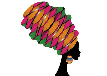 Portrait beautiful African woman in traditional turban wearing typical Afro ethnic earrings. Ankara colorful texture Headwrap. Vector isolated or white background