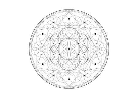 Seed of life symbol Sacred Geometry. Geometric mystic mandala of alchemy esoteric Flower of Life. Vector black and white divine meditative amulet isolated on white background