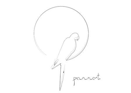 Parrot bird double line art, continuous black line drawing, round macaw bird  idea vector isolated on white background
