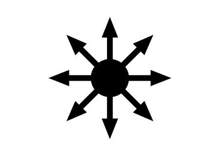 Symbol of Chaos vector isolated on white background. A symbol originating from The Eternal Champion, later adopted by occultists and role-playing games. Vector Illustration
