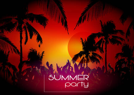 Vector Hello Summer Beach Party Flyer, disco party sunset background