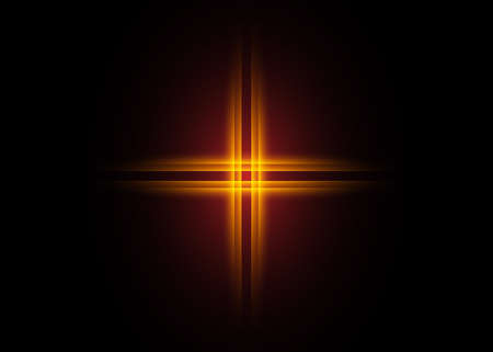 cross of light, shiny Cross with golden frame symbol of christianity. Symbol of hope and faith. Vector illustration isolated on black background