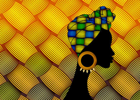 portrait beautiful African woman. Shenbolen Ankara Head wrapped woman wearing traditional tied head scarf or turban. Colorful Kente head wraps concept. Abstract Afro fabric design weaved pattern 向量圖像