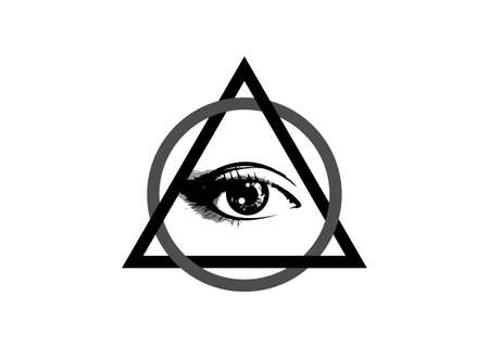 Sacred Masonic symbol. All Seeing eye, the third eye (The Eye of Providence) inside triangle pyramid. New World Order. Hand-drawn alchemy, religion, spirituality, occultism. Vector isolated or white