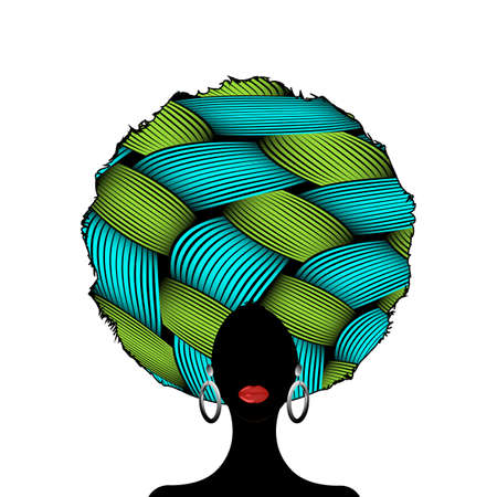 portrait African Woman silhouette, dark skin female face with afro curly hair and ethnic traditional earrings, vector isolated. Curly hairstyle beauty concept and ethnic Afro turban White background 向量圖像