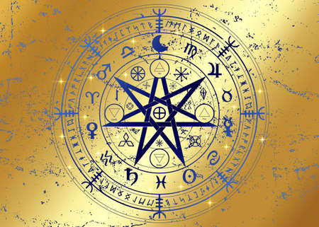 Wiccan symbol of protection. Gold Mandala Witches runes, Mystic Wicca divination. Ancient occult symbols, Earth Zodiac Wheel of the Year Wicca Astrological signs, vector isolated or golden background