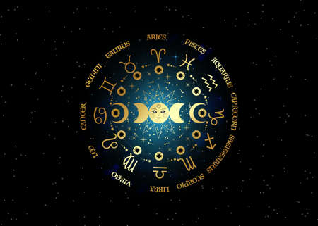 Gold wheel of the zodiac signs and triple moon, pagan Wiccan goddess symbol, sun system, moon phases, orbits of planets, energy circle. Vector isolated on starry black galaxy background