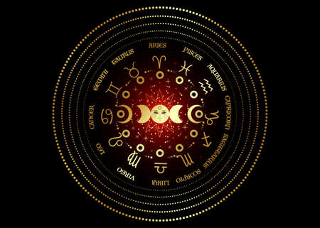 Gold wheel of the zodiac signs and triple moon, pagan Wiccan goddess symbol, sun system, moon phases, orbits of planets, energy circle. Round vector isolated on red and black galaxy background Illustration
