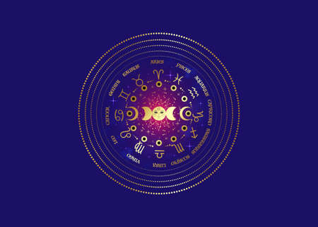 Gold wheel of the zodiac signs and triple moon, pagan Wiccan goddess symbol, sun system, moon phases, orbits of planets, energy circle. Golden round vector isolated on purple galaxy background