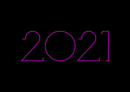 2021 Happy New Year with pink neon sign, modern background, vector isolated or black background, elements for calendar and greetings card or Christmas themed invitations