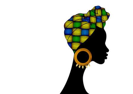 portrait beautiful African woman. Shenbolen Ankara Headwrap Women African Traditional Headtie Scarf Turban. Colorful Kente head wraps Afro fabric design abstract texture. Vector icon logo isolated