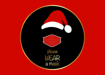 Santa Claus head label with surgical mask and red hat. Merry Christmas, Santa Claus black round design for coronavirus protection wear a mask, vector isolated on red background