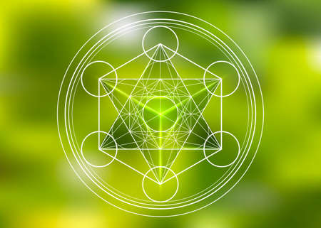 Metatrons Cube, Flower of Life, Merkaba sacred geometry spiritual new age futuristic vector illustration with interlocking circles, triangles in front of blurry green natural background Illusztráció