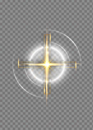 cross of light, shiny Cross with golden frame symbol of christianity. Symbol of hope and faith. Vector illustration isolated on transparent background Ilustrace