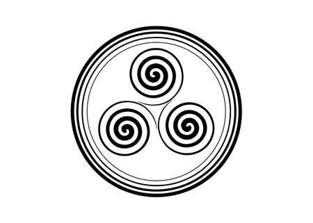 Triskelion or triskele symbol. Triple spiral Celtic sign. Wiccan fertility symbol round design. Art print tattoo simple flat black vector illustration isolated on white background