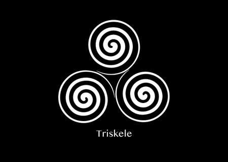 Triskelion or triskele symbol. Triple spiral Celtic sign. Wiccan fertility symbols design. Art print tattoo simple flat white vector illustration isolated on black background